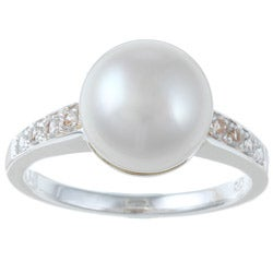 Pearls For You Silver White FW Pearl and White Topaz Ring (10-10.5 mm)