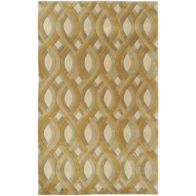 Silver Orchid Genevois Hand-tufted Beige Geometric PWool Area Rug (5' x 8')