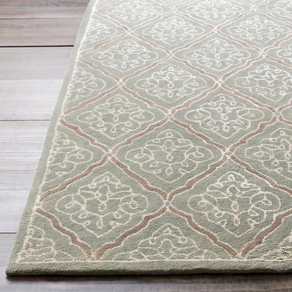 Hand-tufted Divine Grey Geometric Wool Area Rug - 5' x 8'