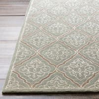 Hand-tufted Divine Pale Blue Geometric Wool Area Rug - 9' x 13'