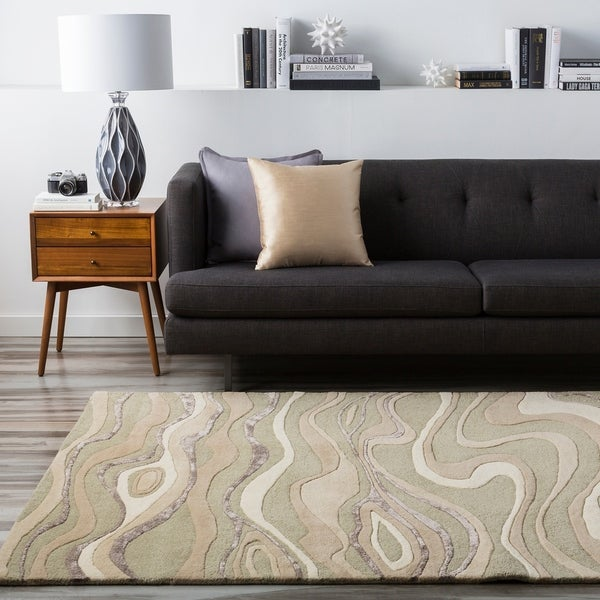 Hand-tufted Divine Ivory Abstract Waves Wool Area Rug - 5' x 8'