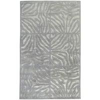 Hand-tufted Grey Zebra Animal Print Divine Wool Area Rug - 5' x 8'