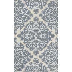 Hand-tufted Divine Cream Geometric Pattern Wool Rug (5' x 8')