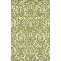 Hand-tufted Divine Chartreuse Botanical Wool Area Rug (9' x 13') - 9' x 13'
