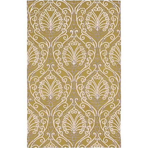 Hand-tufted Divine Chartreuse Botanical Wool Area Rug - 9' x 13'