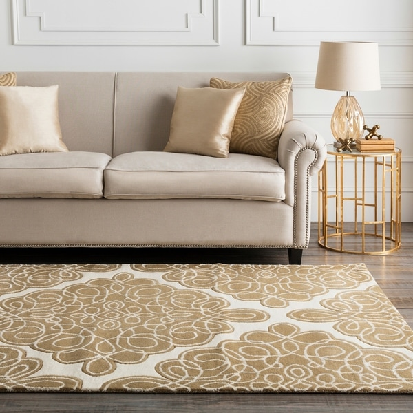 Hand-tufted Divine Off White Geometric Pattern Wool Area Rug - 5' x 8'