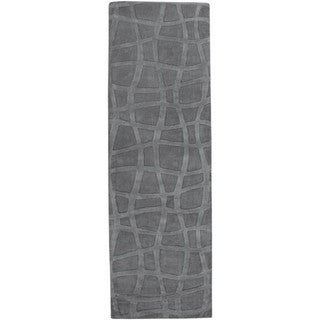 """Loomed Carved Grey Abstract Plush Wool Area Rug - 2'6"""" x 8' Runner"""