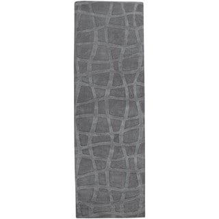 "Loomed Carved Grey Abstract Plush Wool Area Rug - 2'6"" x 8' Runner"