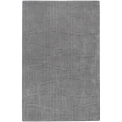 Loomed Carved Grey Abstract Plush Wool Rug (3'3 x 5'3)