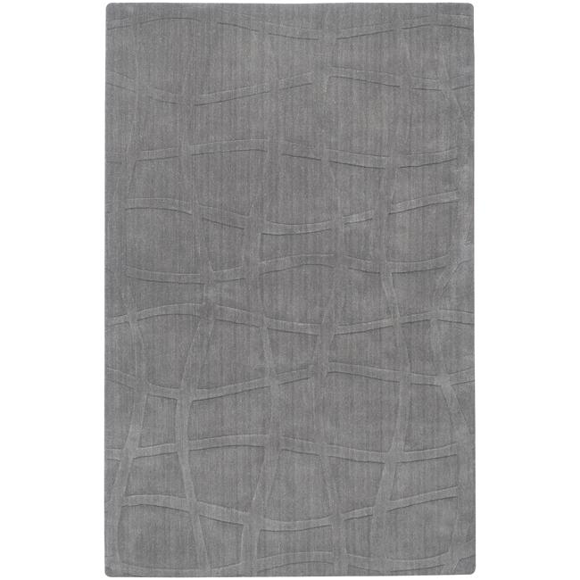 Loomed Carved Grey Abstract Plush Wool Area Rug - 5' x 8'
