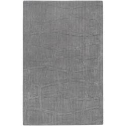 Loomed Carved Grey Abstract Plush Wool Area Rug - 5' x 8' - Thumbnail 0