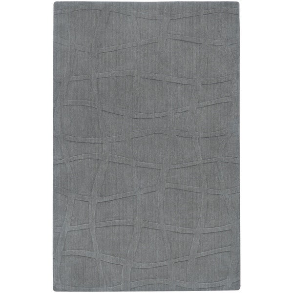 Loomed Carved Grey Abstract Plush Wool Area Rug