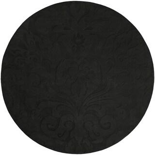 Loomed Black Damask Pattern Wool Area Rug - 8' Round