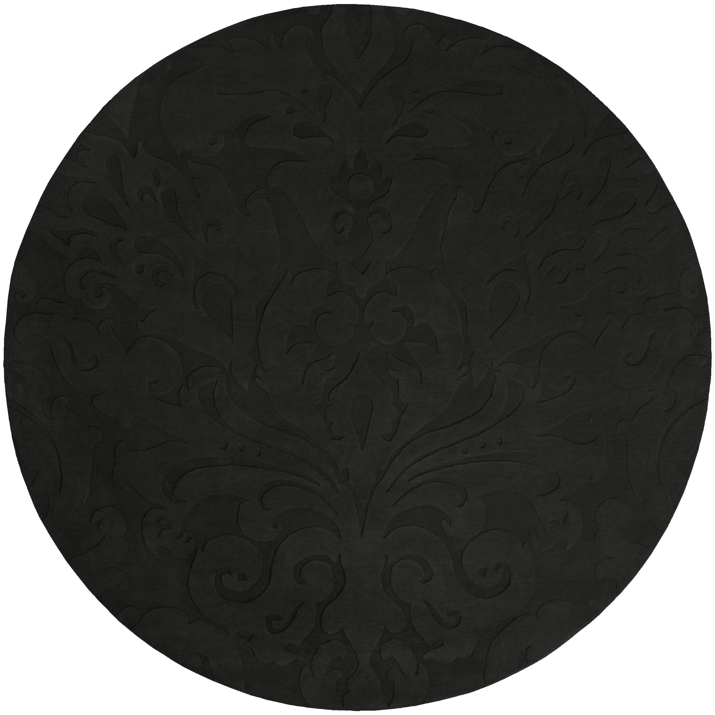 Black Damask Pattern Wool Area Rug