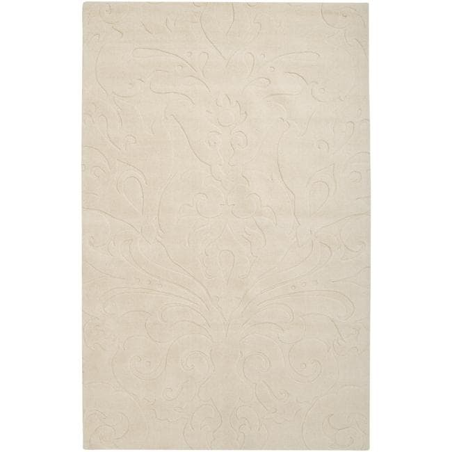 Loomed Ivory Damask Pattern Wool Area Rug - 5' x 8'