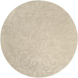 Loomed Ivory Damask Pattern Wool Rug (8' Round)
