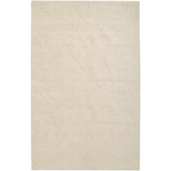 Loomed Ivory Damask Pattern Wool Area Rug - 9' x 13'
