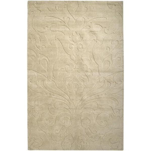 Loomed Beige Damask Pattern Wool Rug (5' x 8')