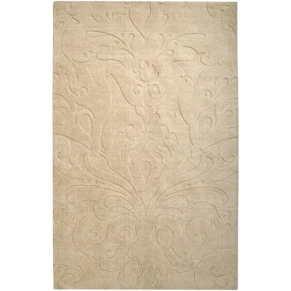 Loomed Beige Damask Pattern Wool Area Rug - 5' x 8'