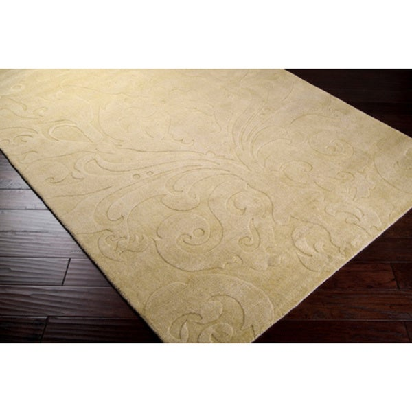 Loomed Beige Damask Pattern Wool Rug (8' x 11')