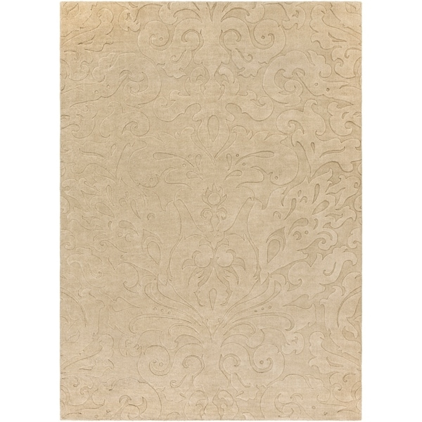 Loomed Beige Damask Pattern Wool Area Rug - 8' x 11'