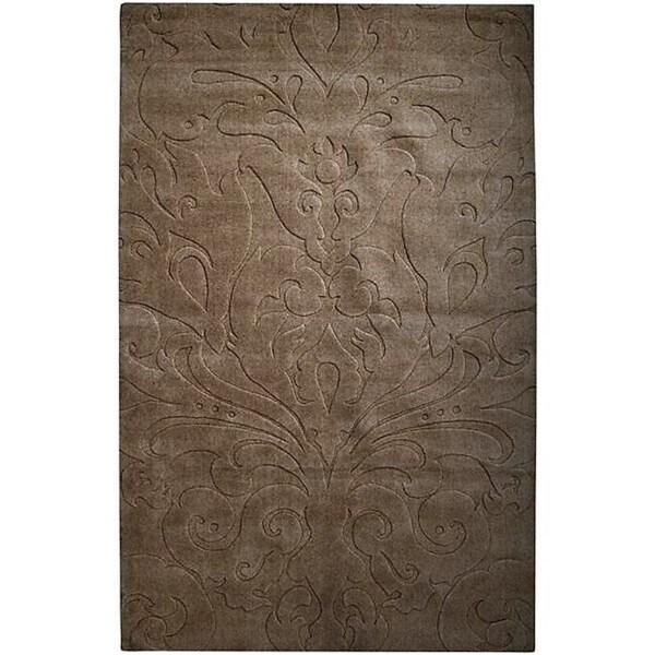 Loomed Chocolate Damask Pattern Wool Area Rug - 9' x 13'