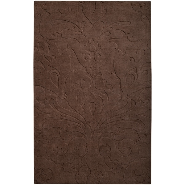 Loomed Chocolate Damask Pattern Wool Area Rug - 9' x 13'