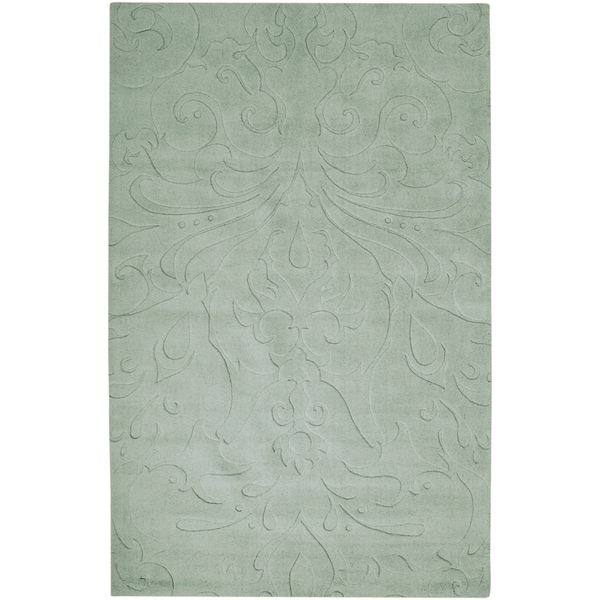 Loomed Light Blue Damask Pattern Wool Area Rug - 5' x 8'