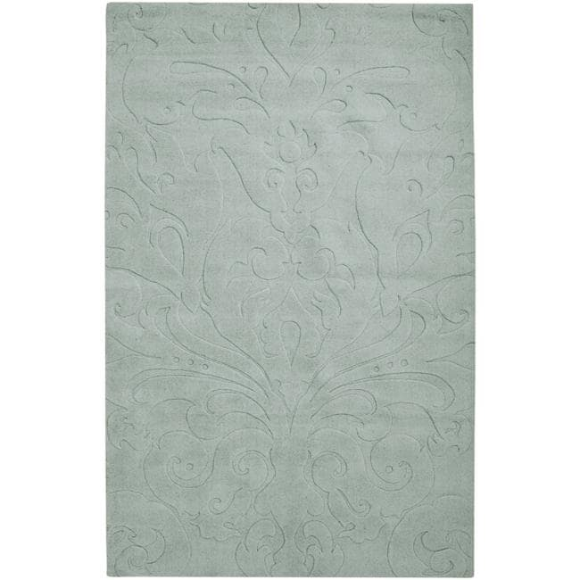 Loomed Light Blue Damask Pattern Wool Rug (8' X 11'), Siz...