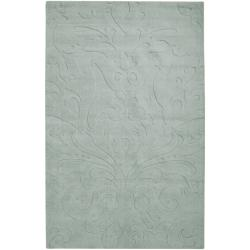 Loomed Light Blue Damask Pattern Wool Rug (8' X 11')