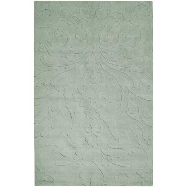 Loomed Light Blue Damask Pattern Wool Area Rug - 8' X 11'