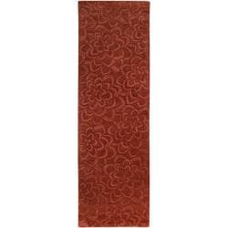 Candice Olson Loomed Red Floral Plush Wool Rug (2'6 x 8') - Thumbnail 1