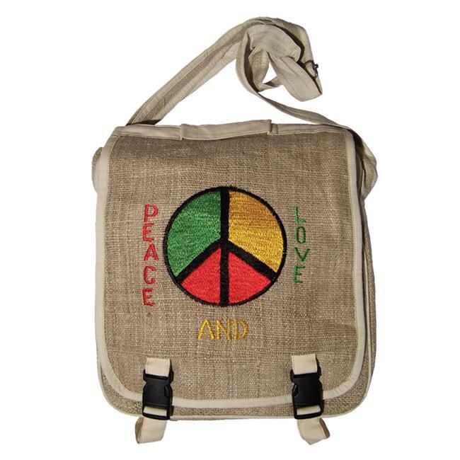 Hemp Peace and Love Rasta Messenger Bag (Nepal)