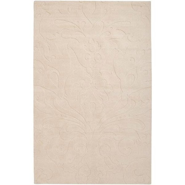 Loomed Ivory Damask Pattern Wool Area Rug - 3'3 x 5'3