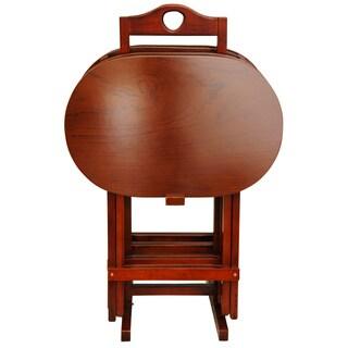 Handmade Set of 4 Rosewood Honey TV Trays (China)