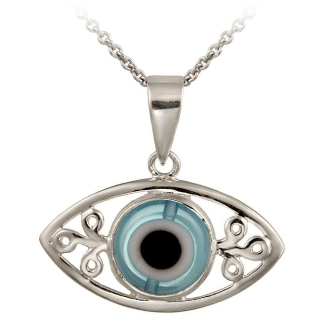 Glitzy Rocks Sterling Silver Enamel and Glass Evil Eye Necklace - Thumbnail 0