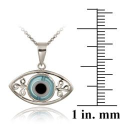 Glitzy Rocks Sterling Silver Enamel and Glass Evil Eye Necklace - Thumbnail 2