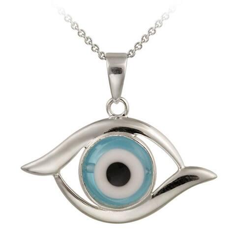 Glitzy Rocks Sterling Silver Blue Glass Evil Eye Necklace