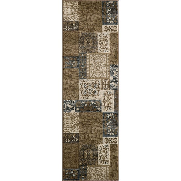 Illusion Power-loomed Damask Brown Rug (2'3 x 7'6)