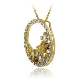 Glitzy Rocks 18k Gold over  Silver Multi-gemstone Cluster Necklace - Thumbnail 1