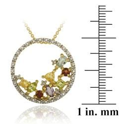 Glitzy Rocks 18k Gold over  Silver Multi-gemstone Cluster Necklace - Thumbnail 2