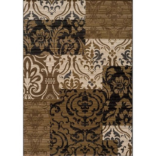 Illusion Power-loomed Panel Beige Rug (7'10 x 9'10)