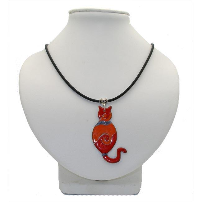 Red Enamel on Copper Cat Necklace (Chile)