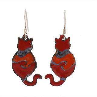 Handmade Red Enamel Cat Earrings (Chile)