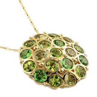 Beverly Hills Charm 14k Yellow Gold Tsavorite/ Peridot/ Lime Quartz Necklace