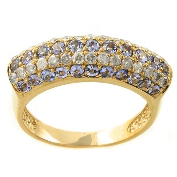 High-Polish 14k Yellow Gold Tanzanite and 1/2ct TDW Diamond Ring