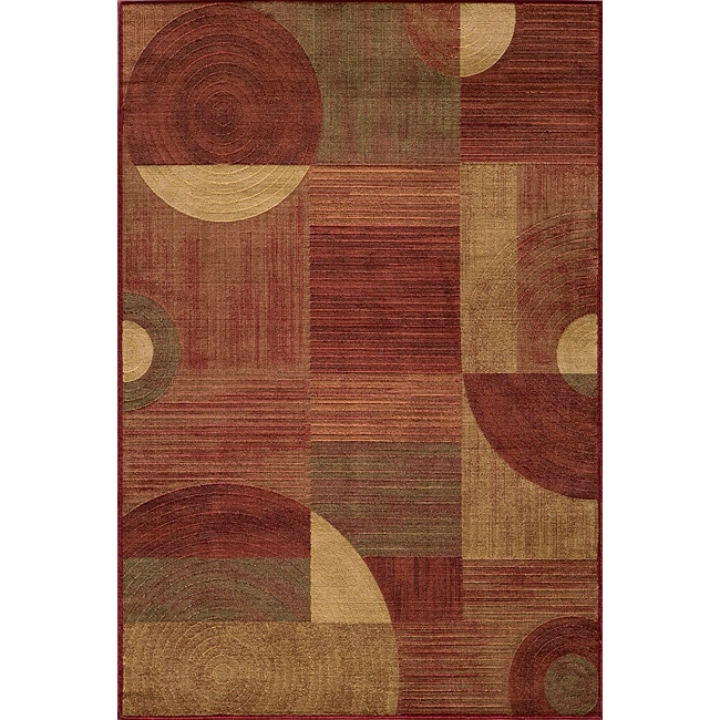 Illusion Power-loomed Red Rug (3'11 x 5'7)