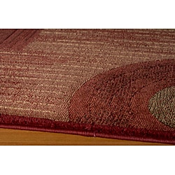 Illusion Power-loomed Red Rug (3'11 x 5'7) - Thumbnail 1
