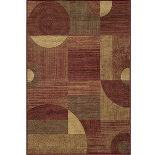 Illusion Power-loomed Red Rug (7'10 x 9'10)