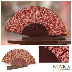 Handmade Silk 'Burgundy Fern' Batik Fan (Indonesia)